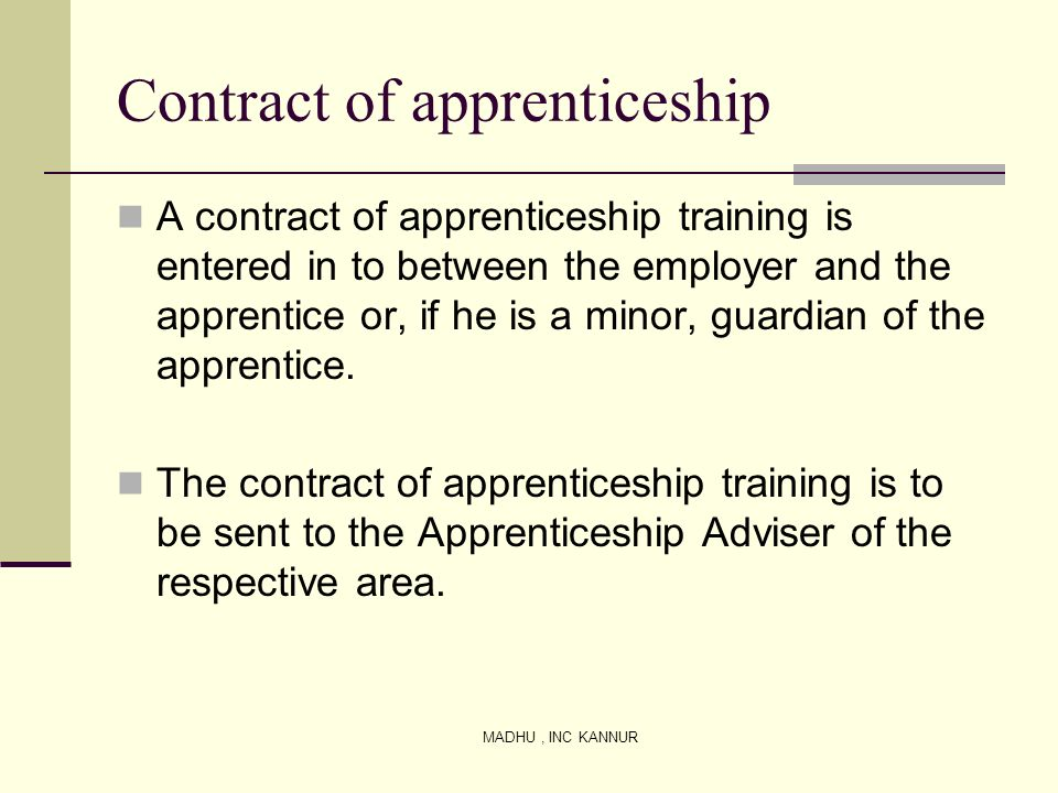 Contract of apprenticeship