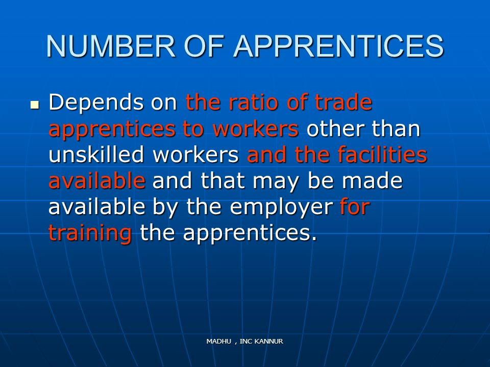 NUMBER OF APPRENTICES