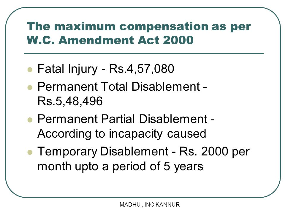 The maximum compensation as per W.C. Amendment Act 2000