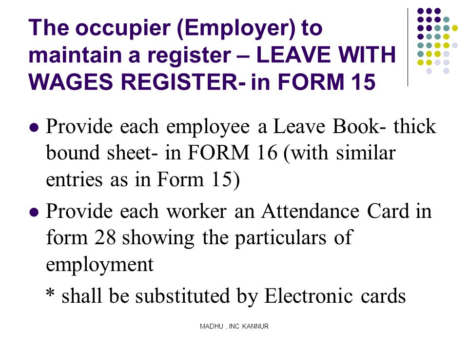 The occupier (Employer) to maintain a register – LEAVE WITH WAGES REGISTER- in FORM 15