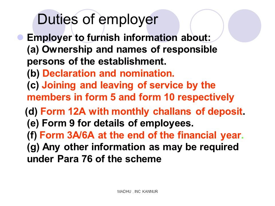 Duties of employer