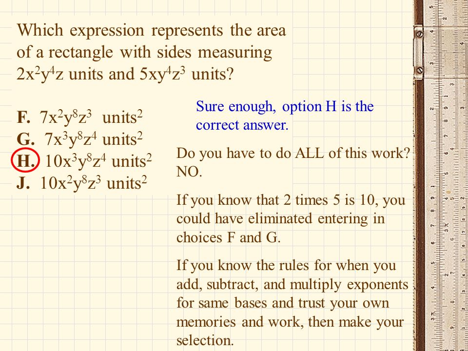 Which expression represents the area of a rectangle with sides measuring 2x2y4z units and 5xy4z3 units