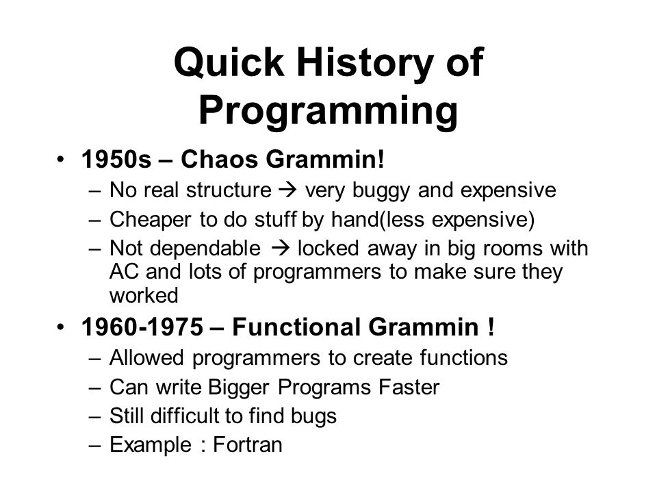Quick History of Programming