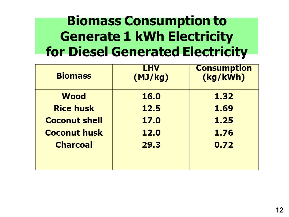 Biomass Consumption to Generate 1 kWh Electricity for Diesel Generated Electricity