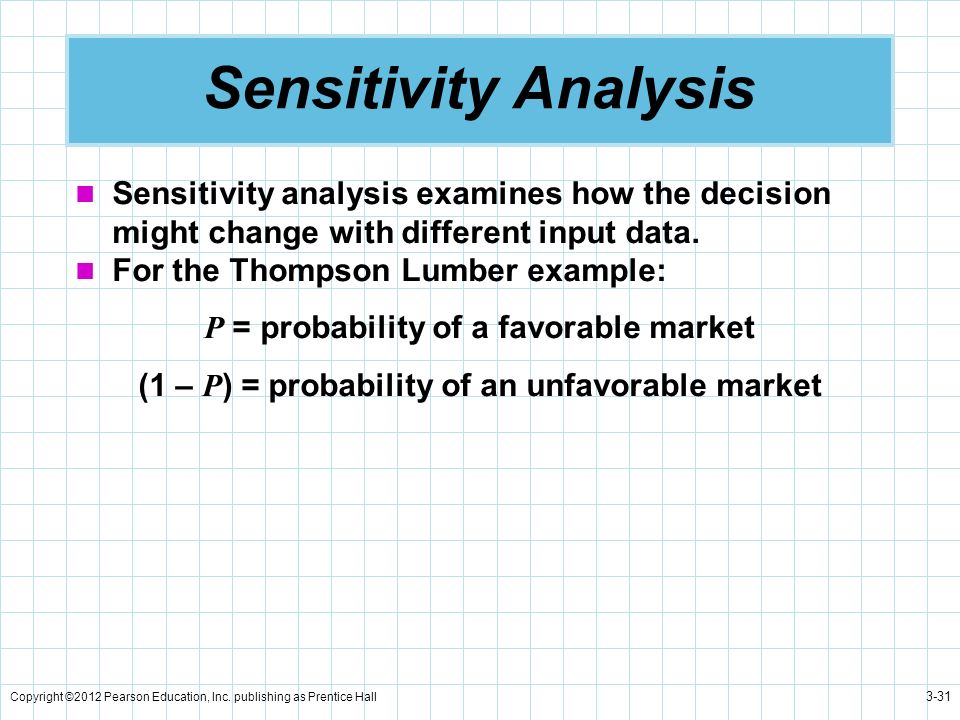 Sensitivity Analysis Sensitivity analysis examines how the decision might change with different input data.