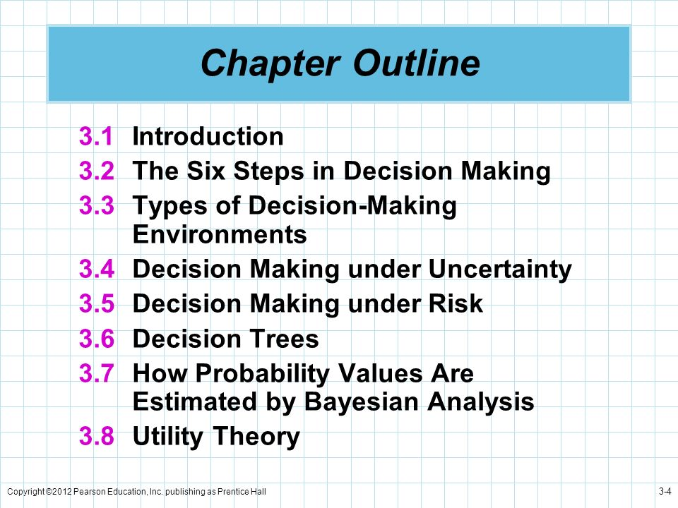 Chapter Outline 3.1 Introduction 3.2 The Six Steps in Decision Making