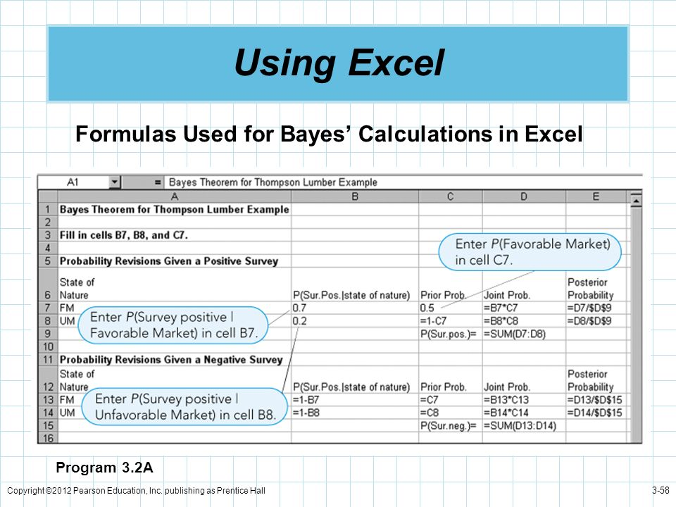 Using Excel Formulas Used for Bayes' Calculations in Excel