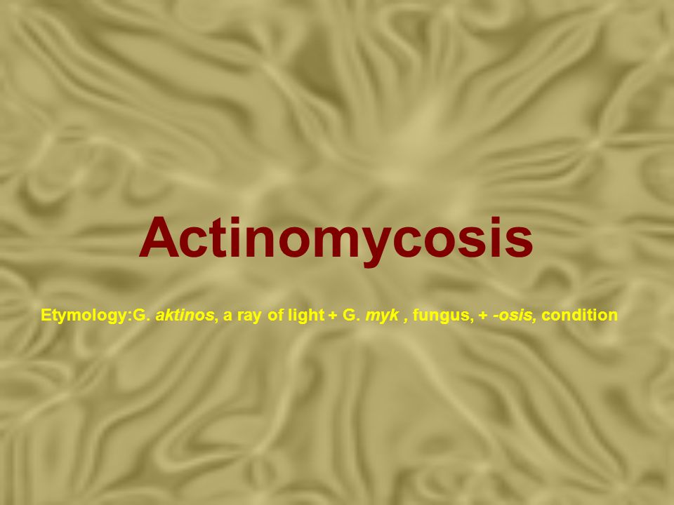 Actinomycosis Etymology:G. aktinos, a ray of light + G. myk , fungus, + -osis, condition