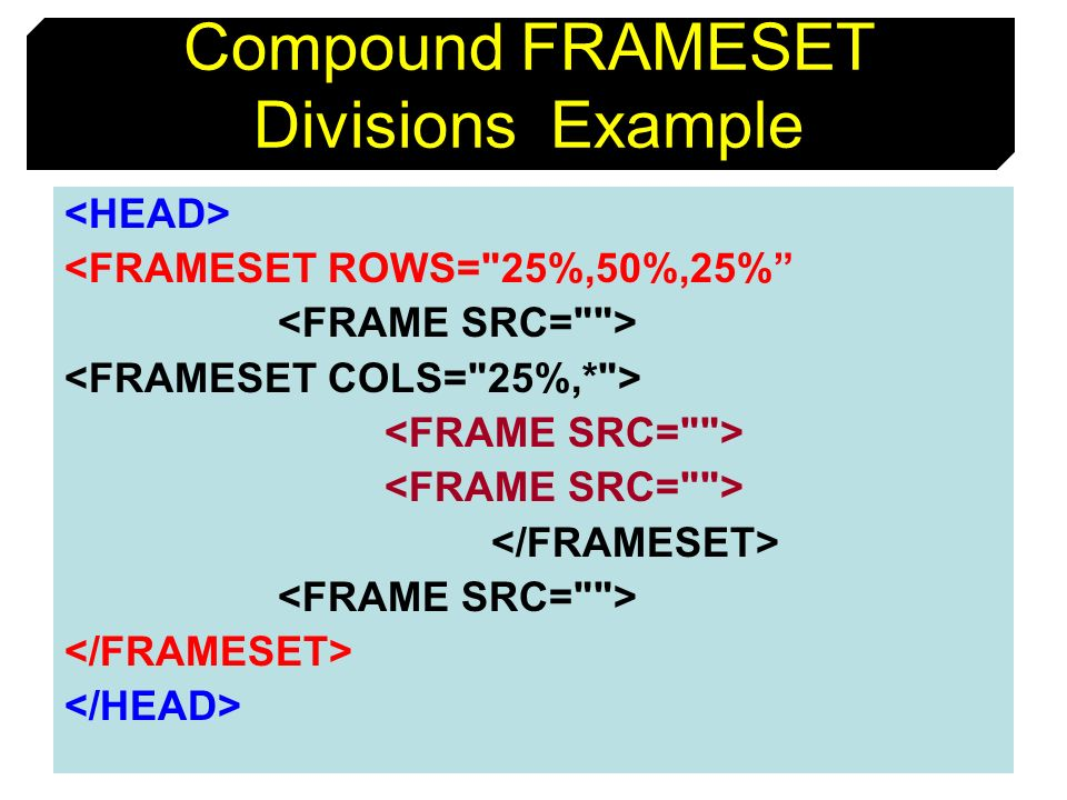 Compound FRAMESET Divisions Example