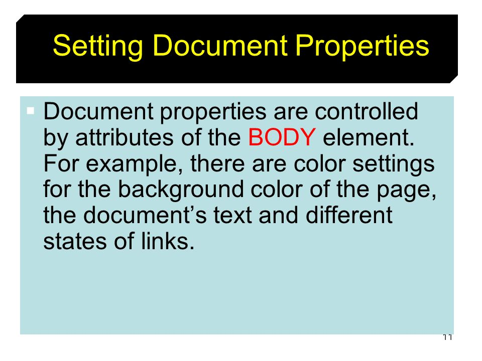 Setting Document Properties