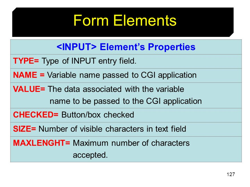 <INPUT> Element's Properties