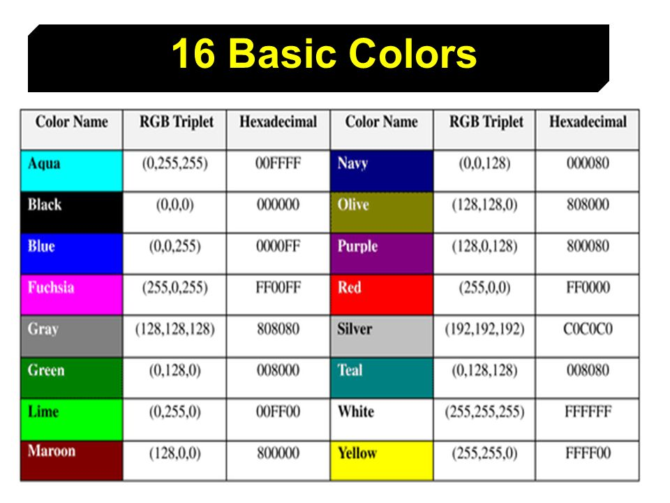 16 Basic Colors