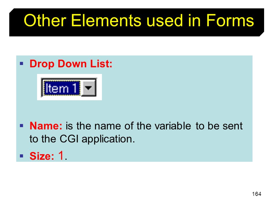 Other Elements used in Forms