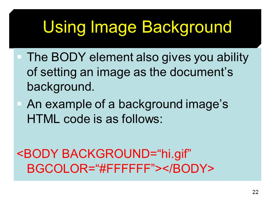 Using Image Background