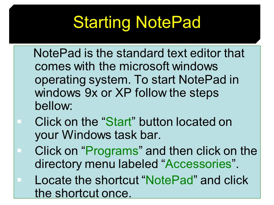 Starting NotePad