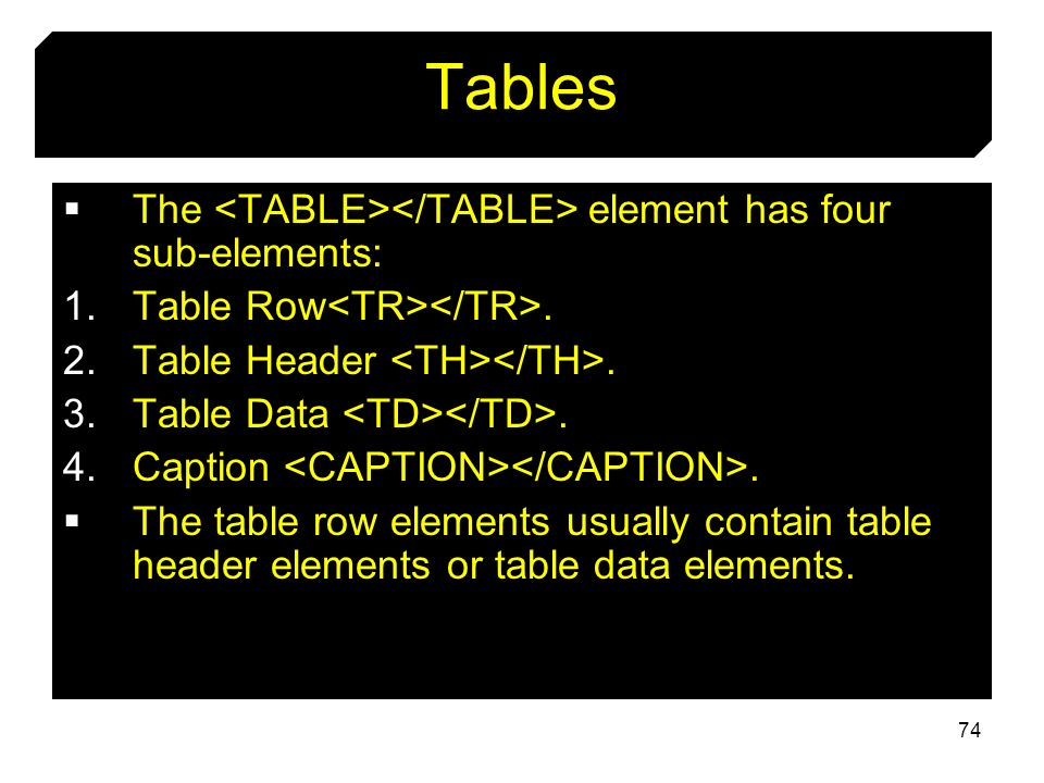Tables The <TABLE></TABLE> element has four sub-elements: