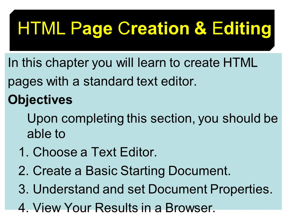 HTML Page Creation & Editing