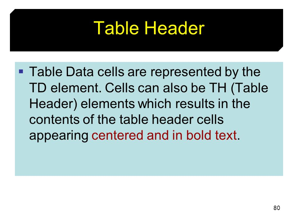 Table Header