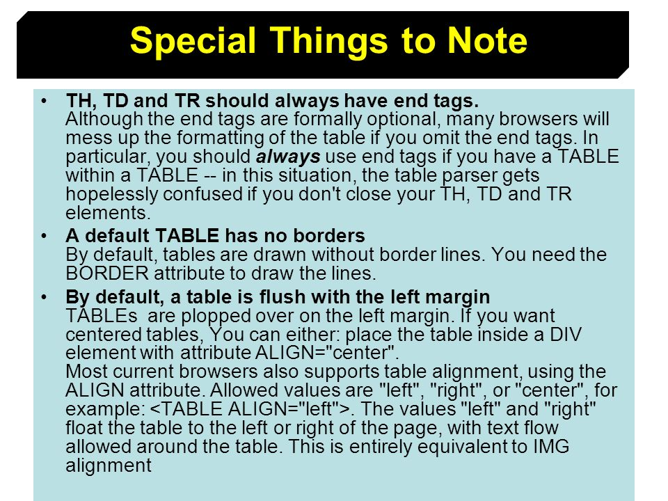 Special Things to Note