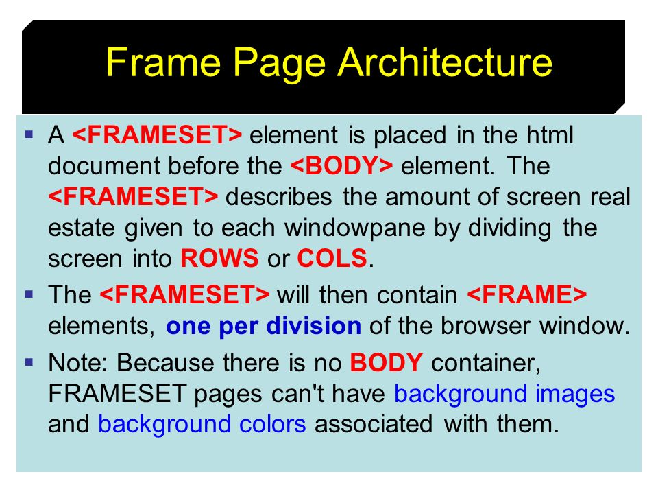 Frame Page Architecture