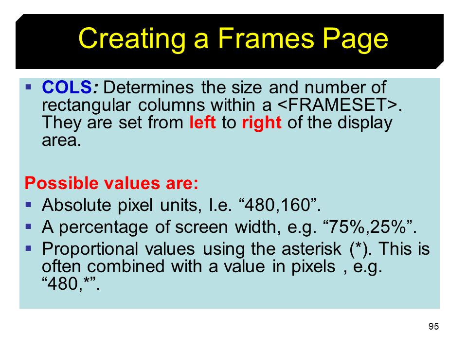 Creating a Frames Page
