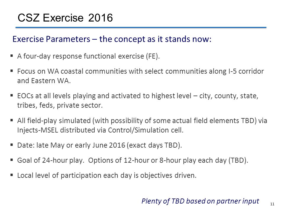 Exercise Parameters – the concept as it stands now: