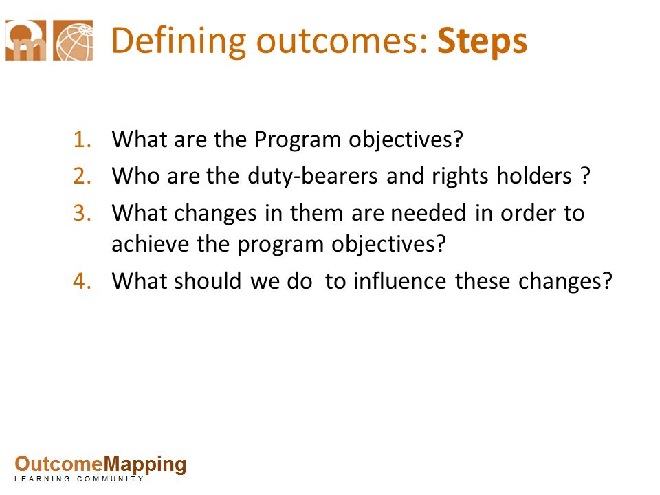 Defining outcomes: Steps