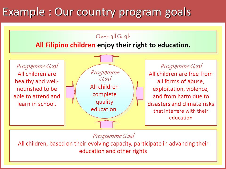 Example : Our country program goals