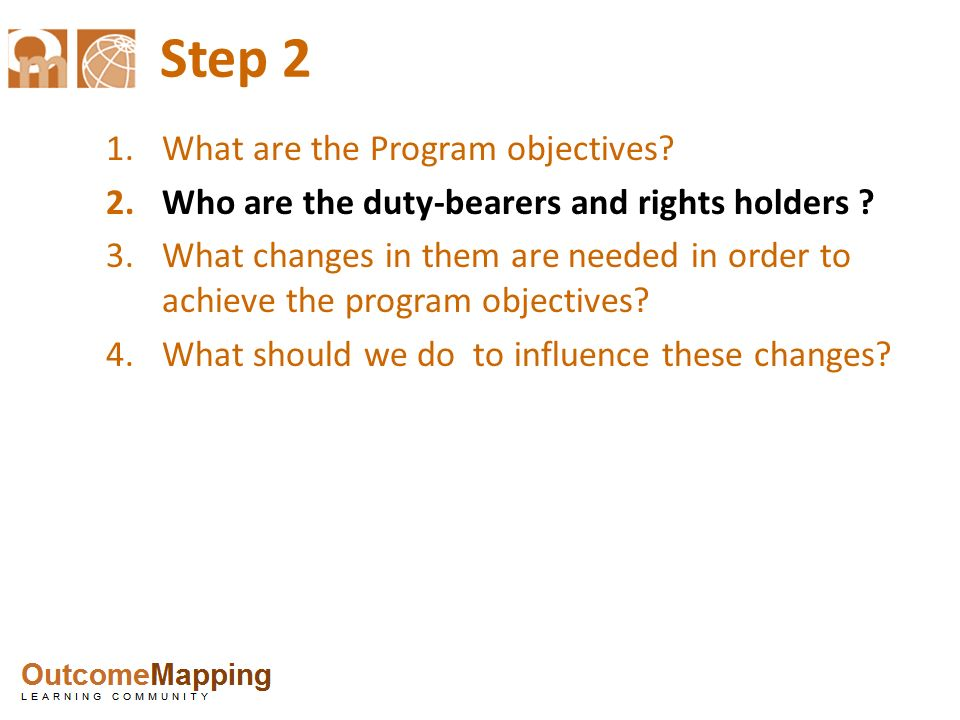 Step 2 What are the Program objectives