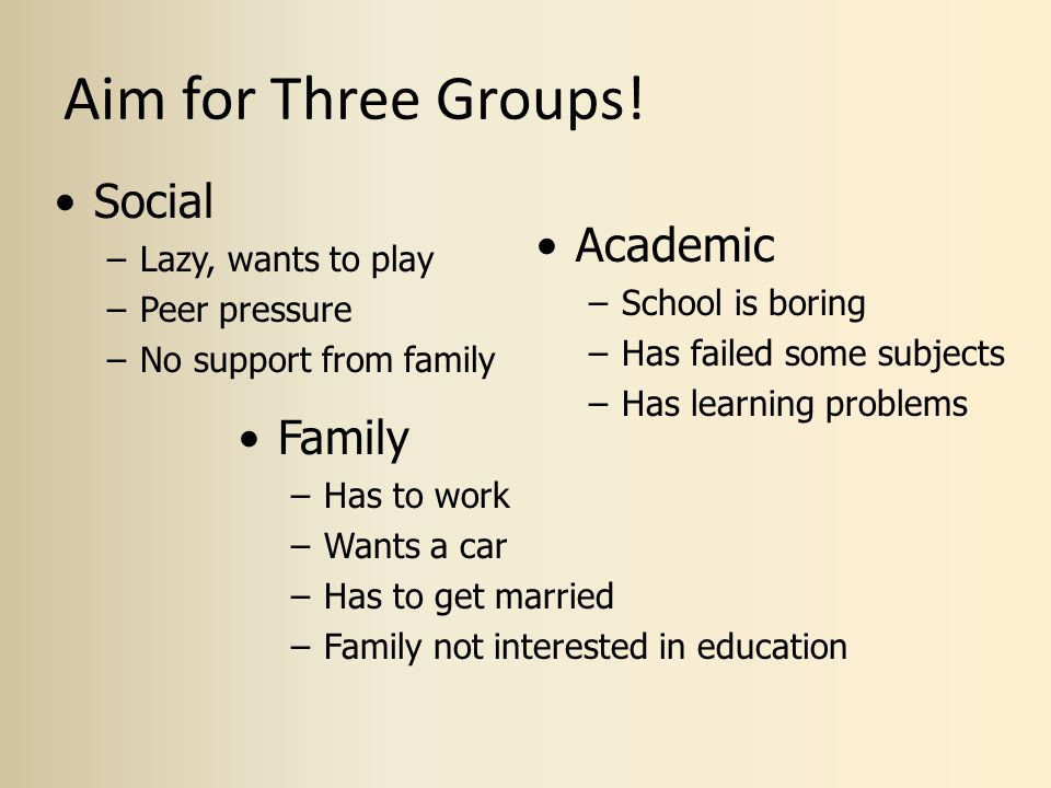 Aim for Three Groups! Social Academic Family Lazy, wants to play