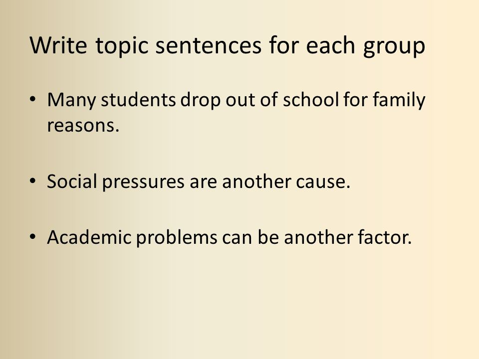 Write topic sentences for each group