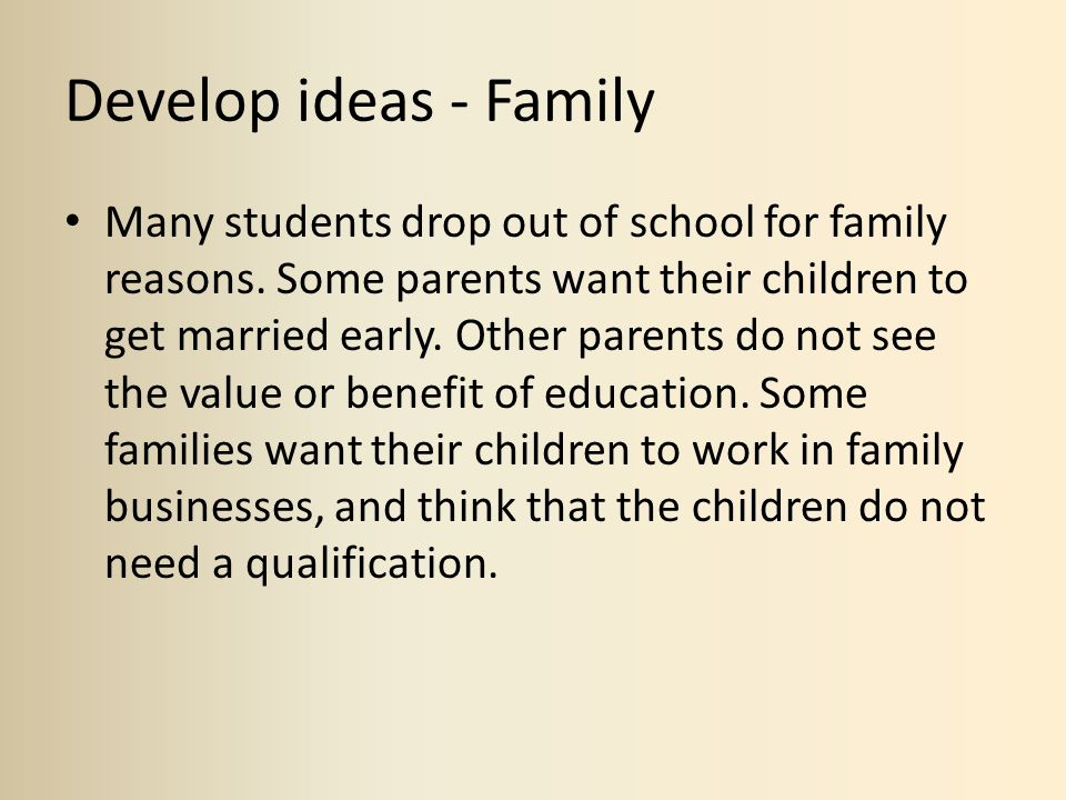 Develop ideas - Family