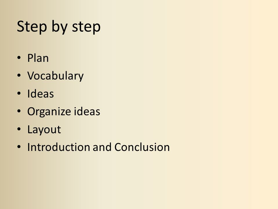 Step by step Plan Vocabulary Ideas Organize ideas Layout