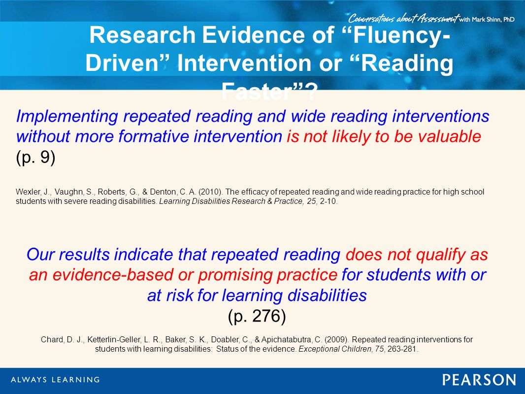 Research Evidence of Fluency-Driven Intervention or Reading Faster