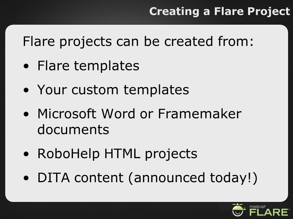 Creating a Flare Project