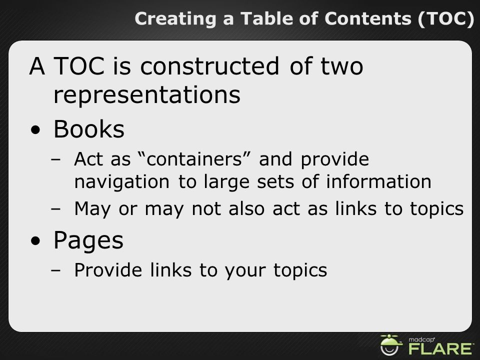 Creating a Table of Contents (TOC)