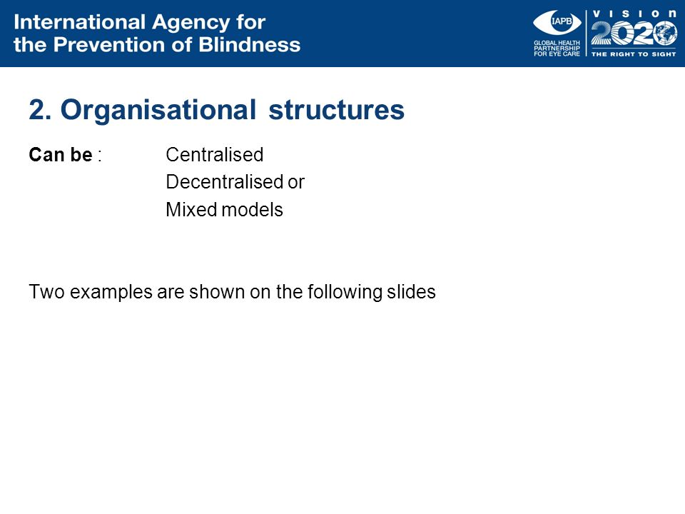 2. Organisational structures