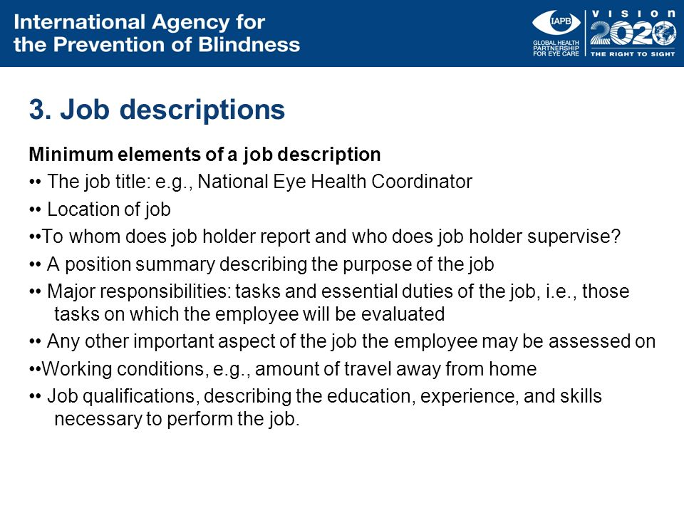 3. Job descriptions