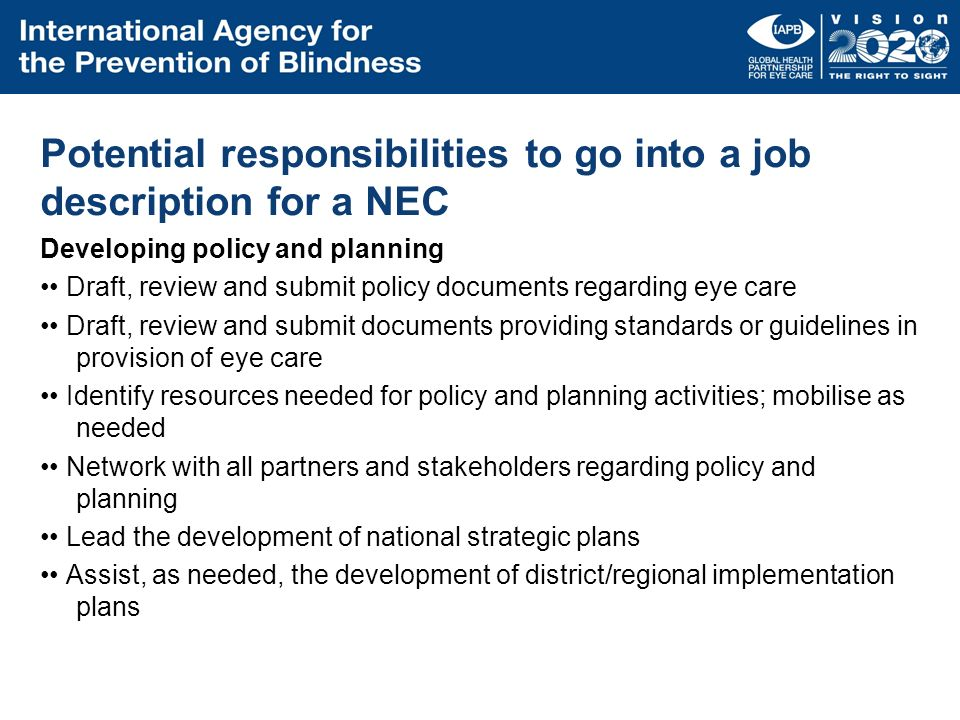 Potential responsibilities to go into a job description for a NEC