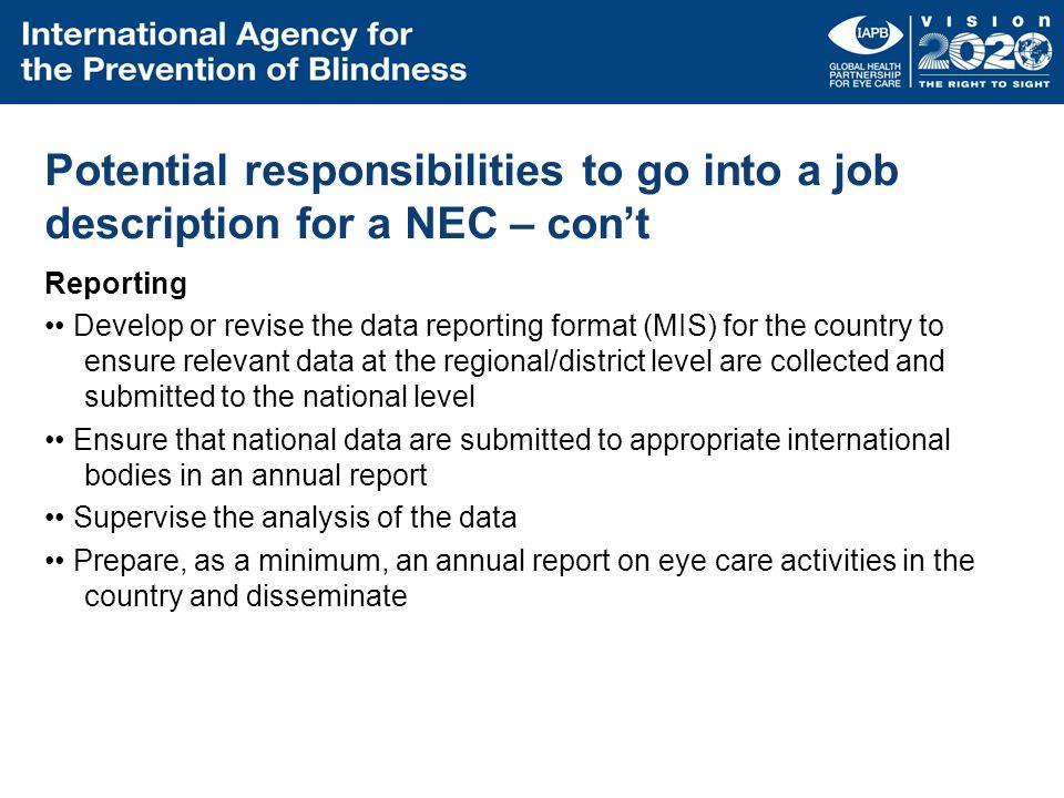 Potential responsibilities to go into a job description for a NEC – con't