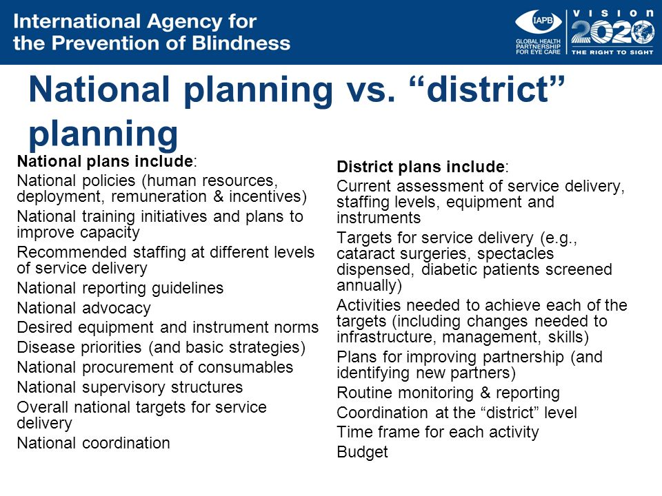 National planning vs. district planning