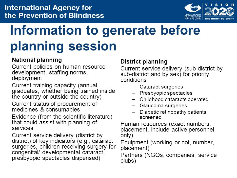 Information to generate before planning session