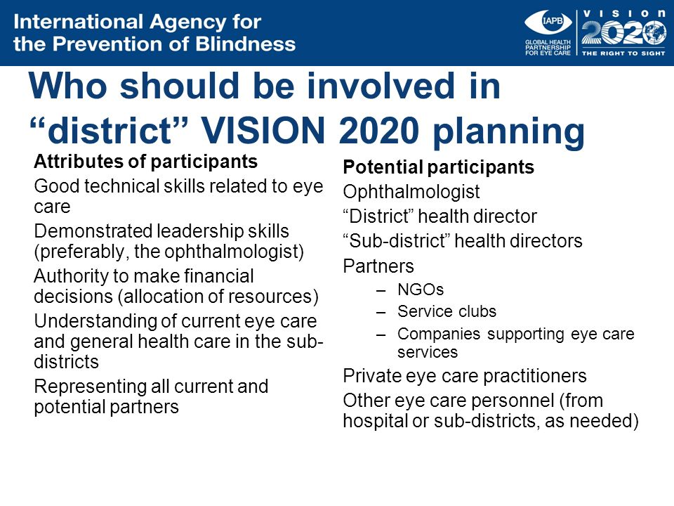 Who should be involved in district VISION 2020 planning