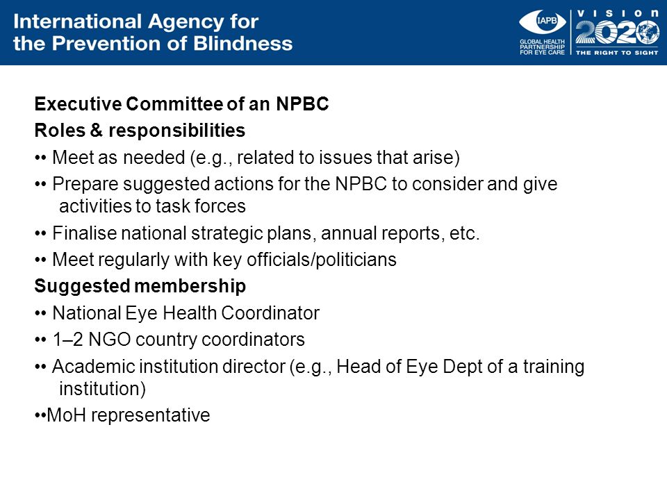 Executive Committee of an NPBC Roles & responsibilities •• Meet as needed (e.g., related to issues that arise) •• Prepare suggested actions for the NPBC to consider and give activities to task forces •• Finalise national strategic plans, annual reports, etc.