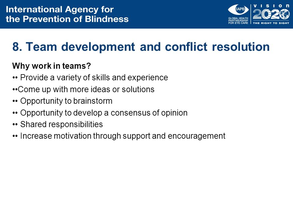 8. Team development and conflict resolution