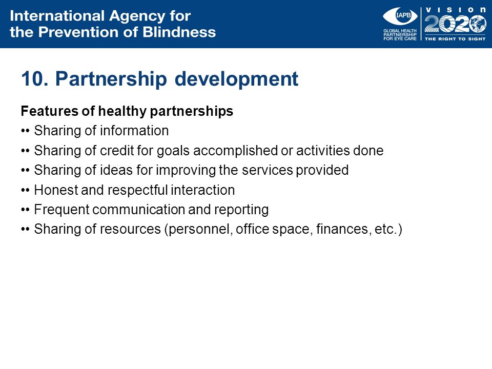 10. Partnership development