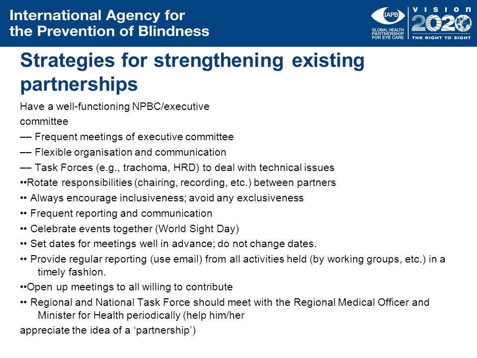 Strategies for strengthening existing partnerships