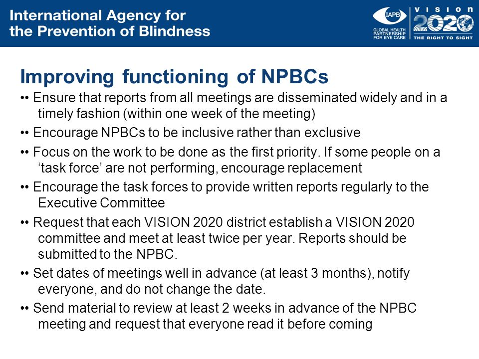 Improving functioning of NPBCs