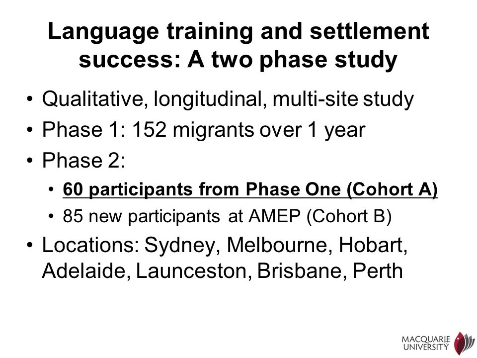 Language training and settlement success: A two phase study