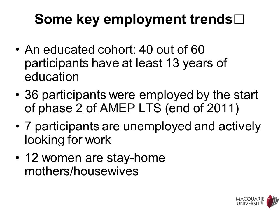 Some key employment trends